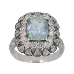 2.45 Carat Aquamarine Diamond Cocktail Ring