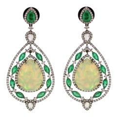 Ethiopian Opal Emerald Diamond Drop Earring
