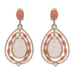 Ethiopian Opal Coral Diamond Drop Earrings
