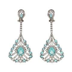 Apatite Diamond Drop Earring