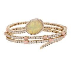 Ethiopian Opal Peach Coral Diamond Wrap Bracelet