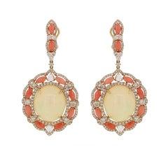 Ethiopian Opal Coral Diamond Earrings