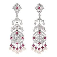 Ruby Diamond Pearl Chandelier Earrings