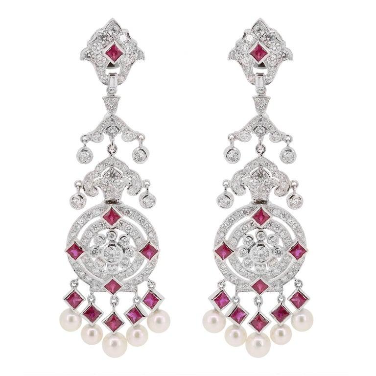 Ruby Diamond Pearl Chandelier Earrings For Sale at 1stdibs