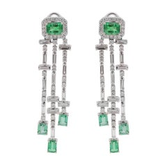 Diamond Baguette and Emerald Chandelier Earring