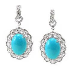 Sleeping Beauty Turquoise Diamond Drop Earring