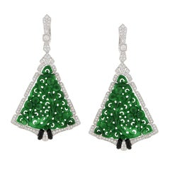 Carved Green Jade Diamond Earring