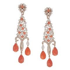 Coral Diamond Chandelier Earring