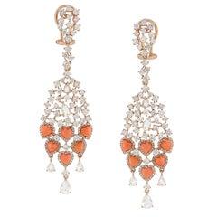 Coral Rose Cut Diamond Chandelier Earring