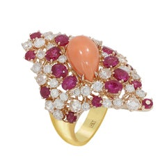 Coral Ruby Diamond Cocktail Ring