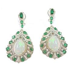 Emerald Ethiopian Opal Diamond Drop Earrings