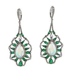 Emerald Ethiopian Opal Diamond Dangle Earrings