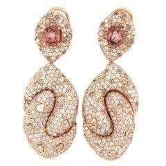 Sapphire Spinel Diamond Dangle Earring