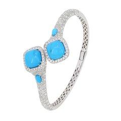 Turquoise and Diamond Bangle