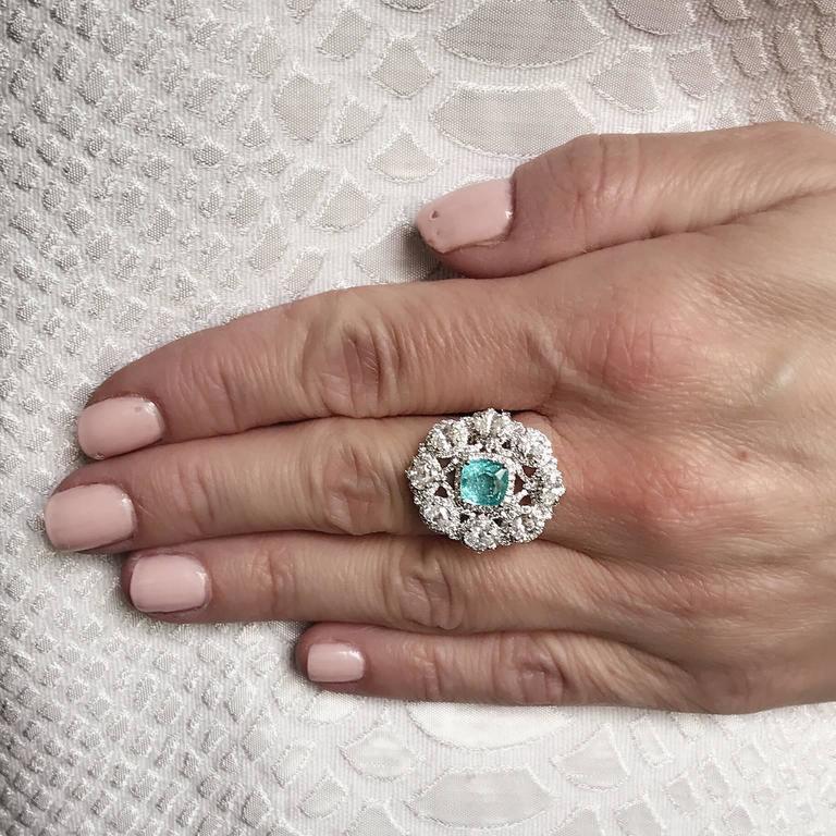 1.7 Carat Paraiba Tourmaline Diamonds Gold Ring 2