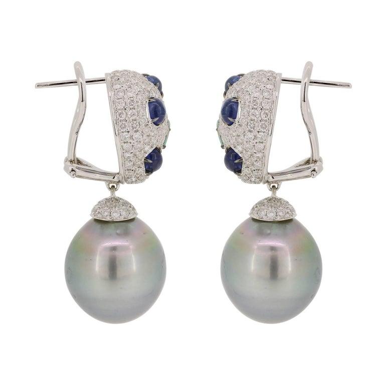 Kyanite Blue Opal Tahitian Pearl Drop Earrings 2