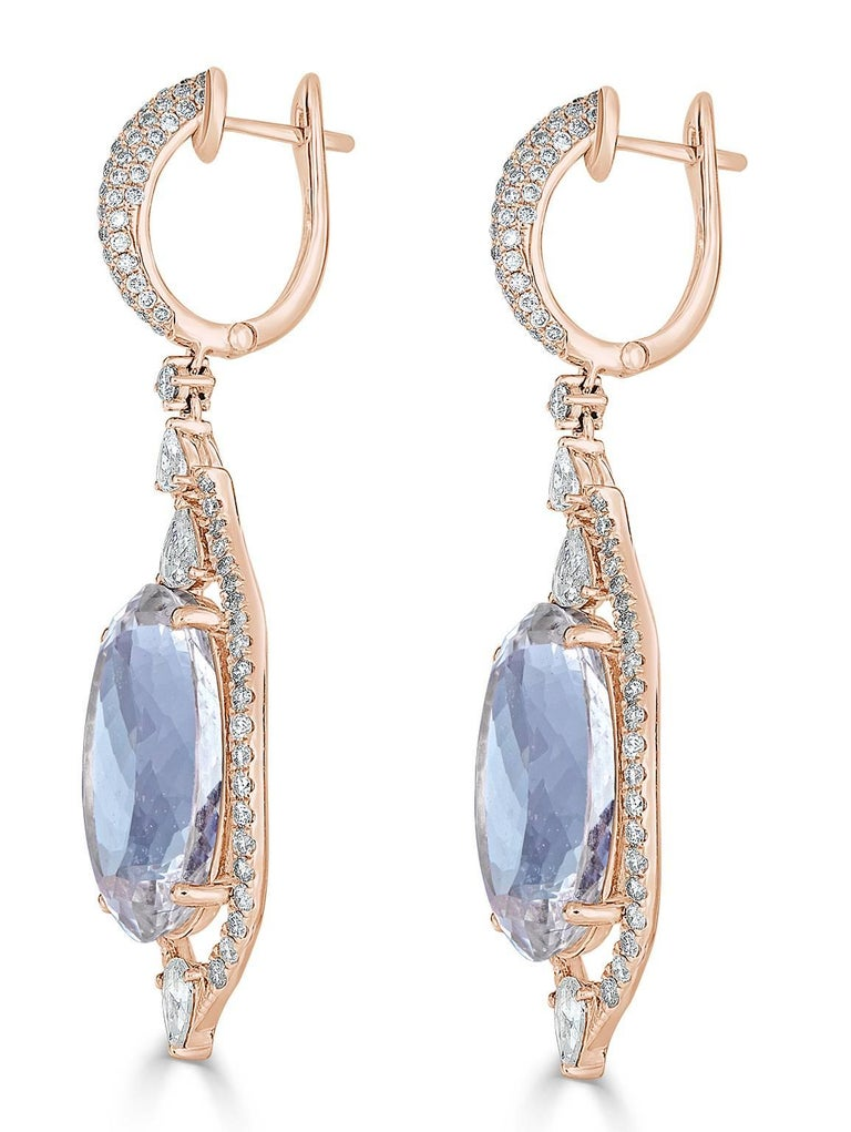 Aquamarine Diamond Drop Earring 2
