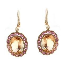 Morganite Pink Sapphire and Diamond Drop Earring