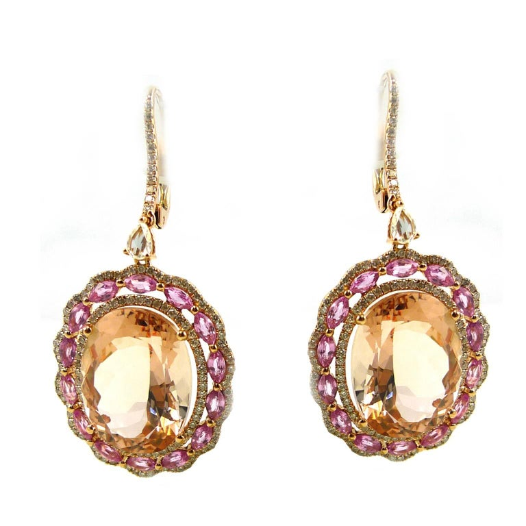 Morganite Pink Sapphire and Diamond Drop Earring 1