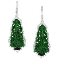 Green Jade Diamond Drop Earring