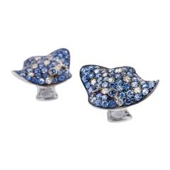 Ray Fish White Diamond Blue Sapphire 18Kt Gold Earrings