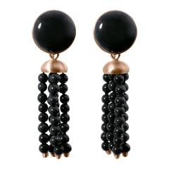 Roman Style Black Jade Black Coral Red Gold Earrings