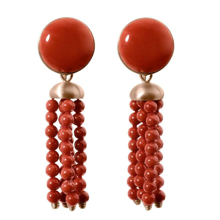 Beautiful Red Coral Red Gold Dangle Drop Earrings Ancient Roman Style For  LM98