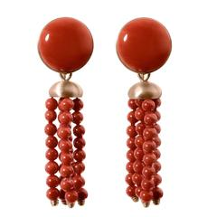 Red Coral Red 18Kt Gold Dangle Drop Earrings Ancient Roman Style