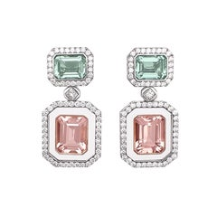 Morganite Green Beryl Diamond 18KT Gold Rock Crystal Earrings and Jewelry Box