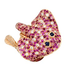 Ray Fish White Diamond Pink and Blue Sapphire Ruby 18 Kt Gold Ring Made in Italy