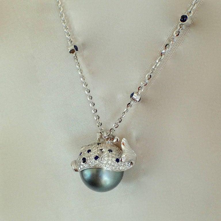Pendant/Necklace Puffer Fish White Diamond Blue Sapphire Tahiti Pearl 18Kt Gold  For Sale 8