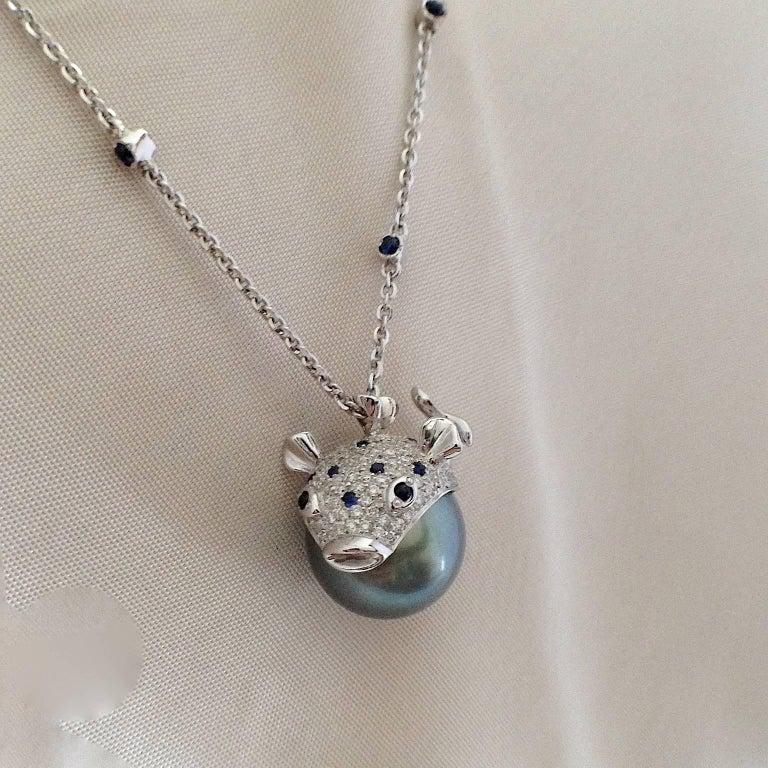 Pendant/Necklace Puffer Fish White Diamond Blue Sapphire Tahiti Pearl 18Kt Gold  For Sale 9