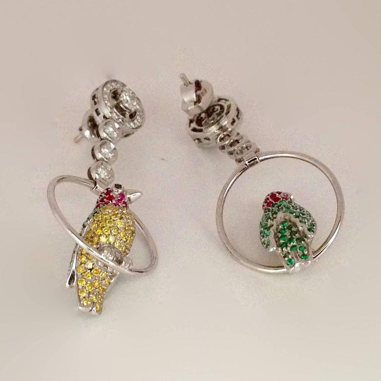 Contemporary Vivid Yellow White Black Diamond Ruby Emerald 18Kt Gold Birds Drop Earrings For Sale