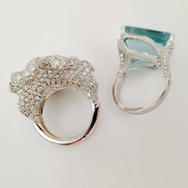 Gemstone Jewelry 18 50 Carat Aquamarine White Diamond Gold