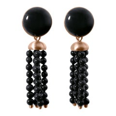 Roman Style Black Jade Black Coral Red 18K Gold Detachable Stud Dangle Earrings