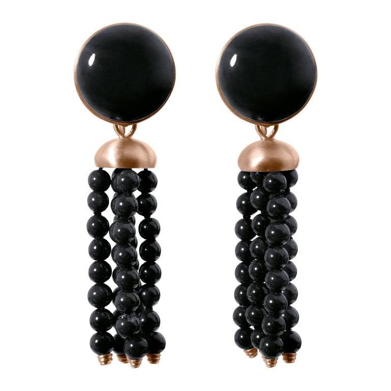 Roman Style Black Jade Black Coral Red Gold Detachable Stud Dangle Earrings