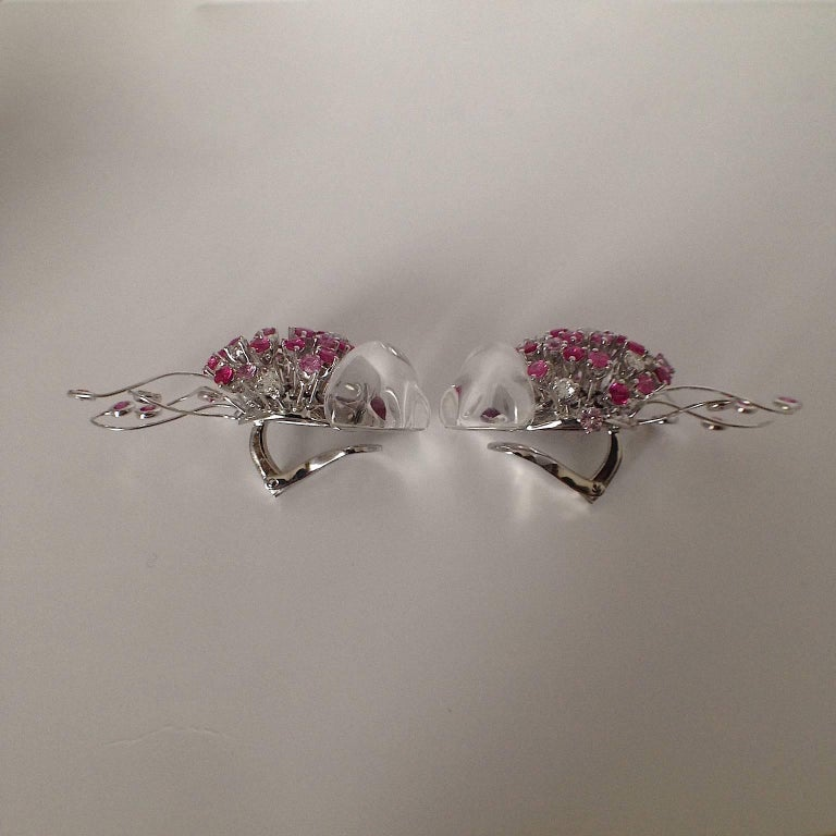 Contemporary Jellyfish White Diamond Ruby Pink Sapphire Rock Crystal White Gold Drop Earrings For Sale