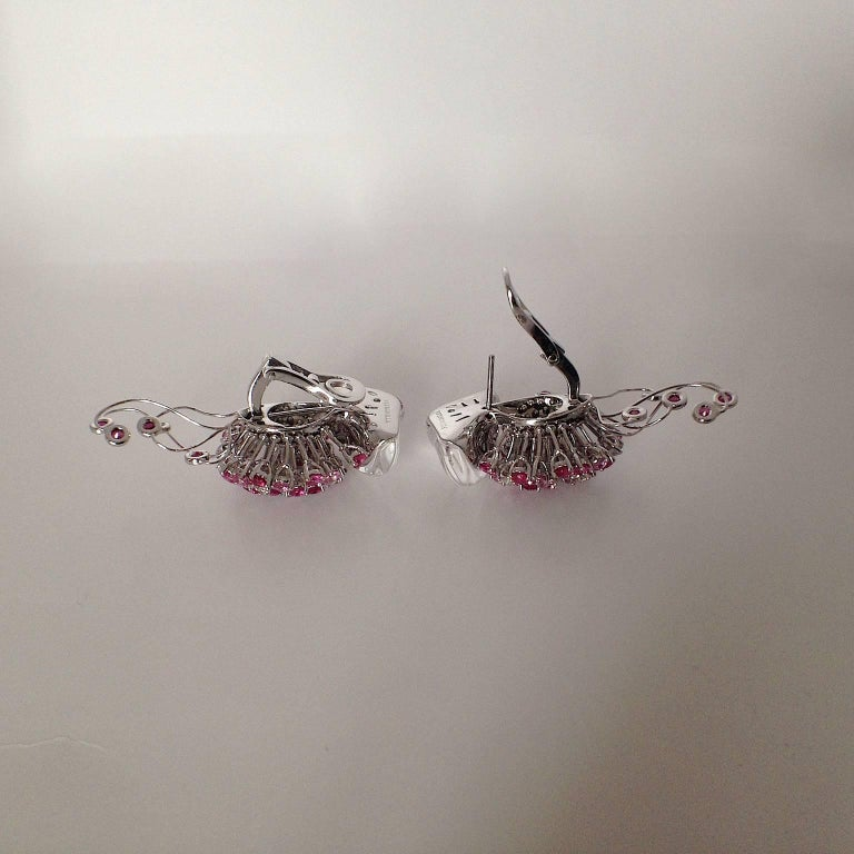 Women's Jellyfish White Diamond Ruby Pink Sapphire Rock Crystal White Gold Drop Earrings For Sale