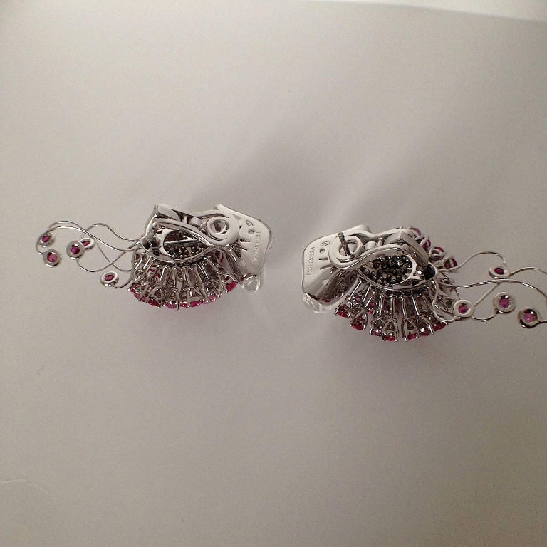 Jellyfish White Diamond Ruby Pink Sapphire Rock Crystal White Gold Drop Earrings For Sale 2