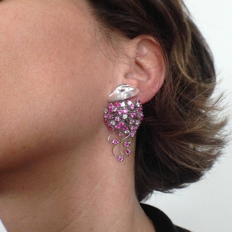 Jellyfish White Diamond Ruby Pink Sapphire Rock Crystal White Gold Drop Earrings For Sale 3