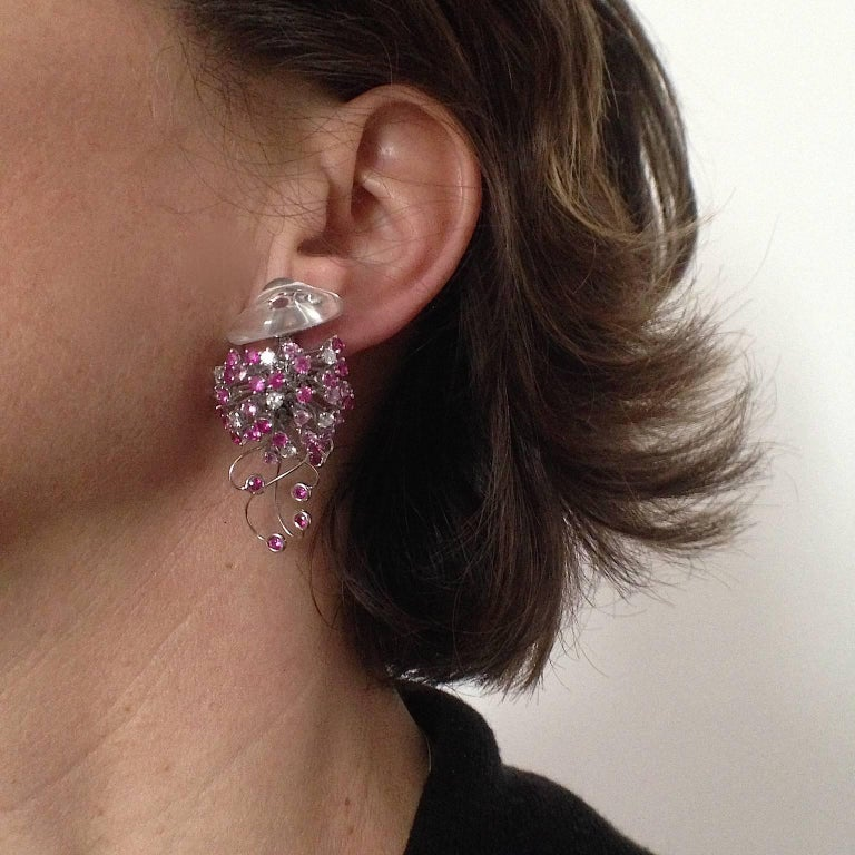 Jellyfish White Diamond Ruby Pink Sapphire Rock Crystal White Gold Drop Earrings For Sale 6