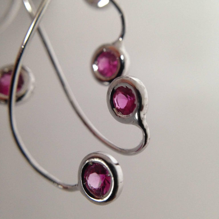 Jellyfish Diamond Ruby Pink Sapphire Rock Crystal White 18 Kt Gold Drop Earrings For Sale 9