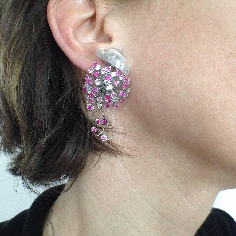 Jellyfish Diamond Ruby Pink Sapphire Rock Crystal White 18 Kt Gold Drop Earrings For Sale 4