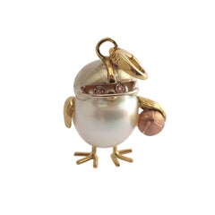 Football Player Diamond 18Kt Gold Australian Pearl Chick Charm Pendant/Necklace