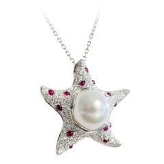 Starfish White Diamond Ruby Australian Pearl 18 Karat Gold Pendant/Necklace