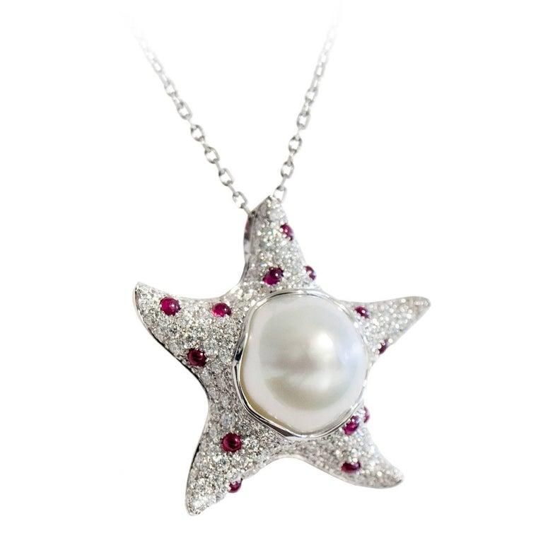 Starfish White Diamond Ruby Australian Pearl 18 Karat Gold Pendant/Necklace