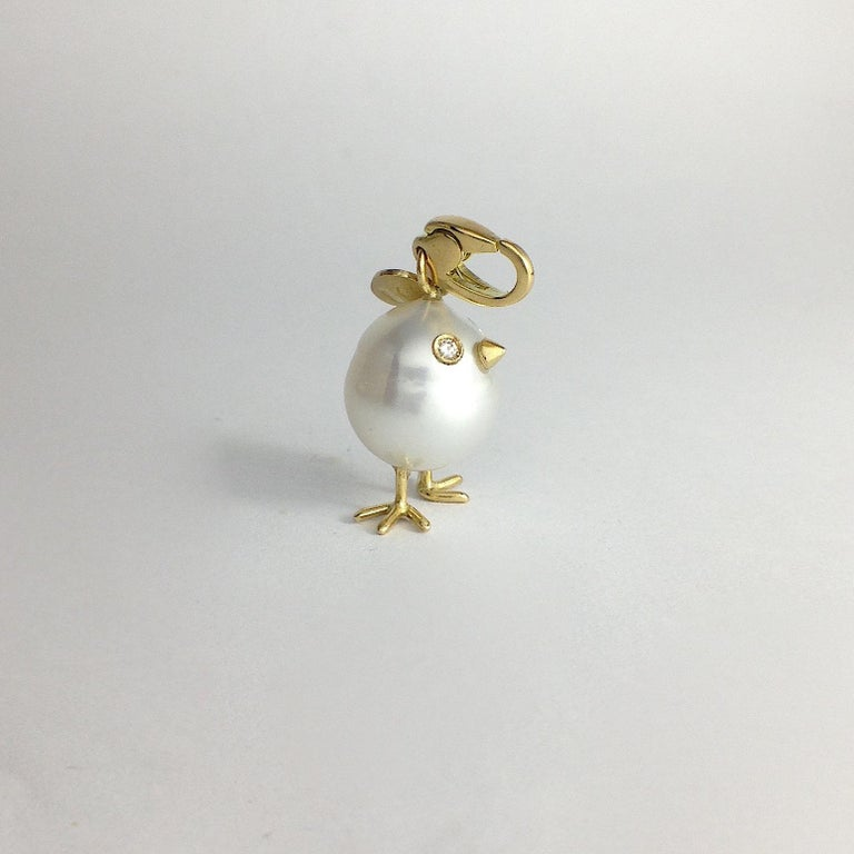 Chick Pearl Diamond 18 Karat Gold Pendant, Necklace or Charm In New Condition For Sale In Bussolengo, Verona