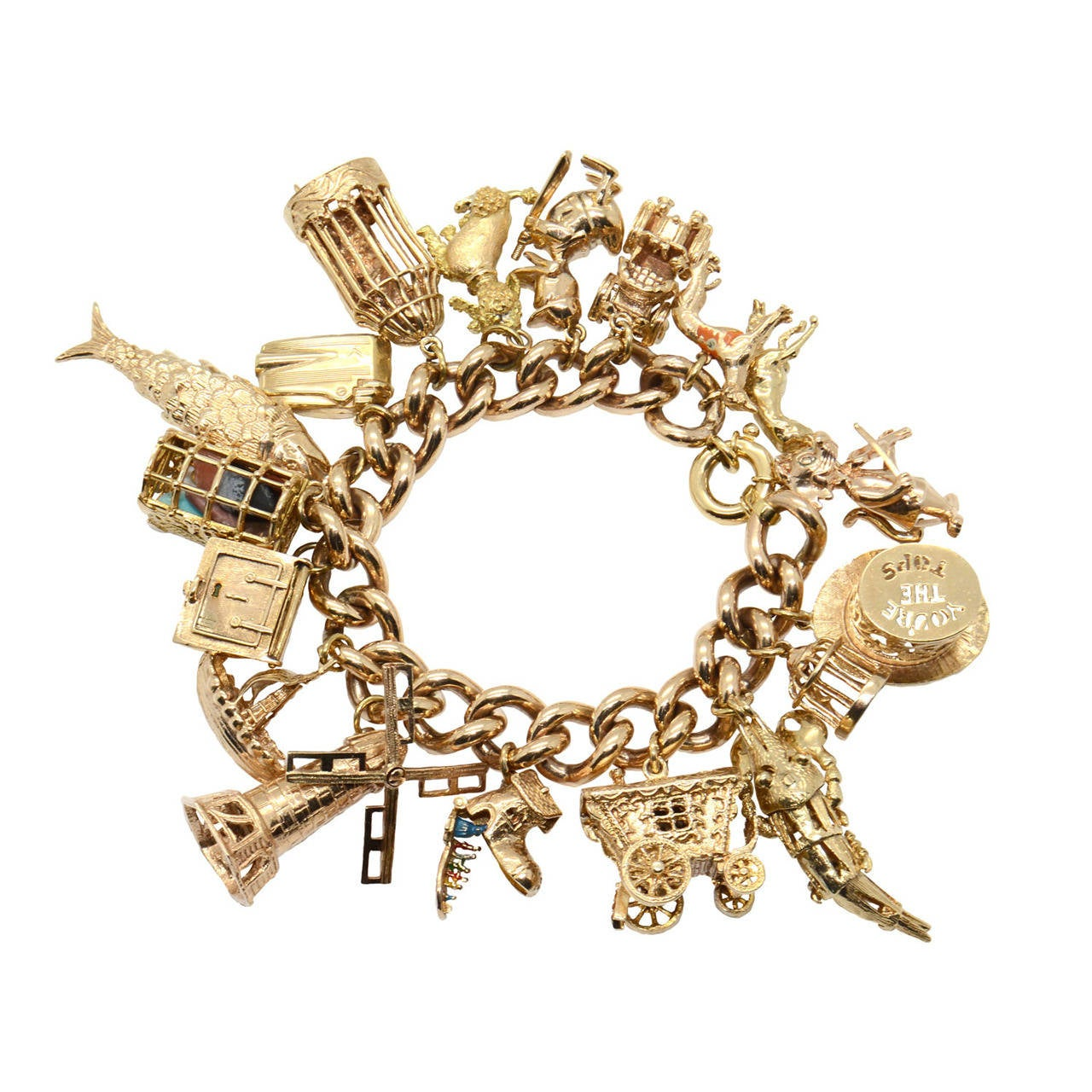 Gold Charm Bracelets: A 1960s Gem Set Gold Charm Bracelet At 1stdibs