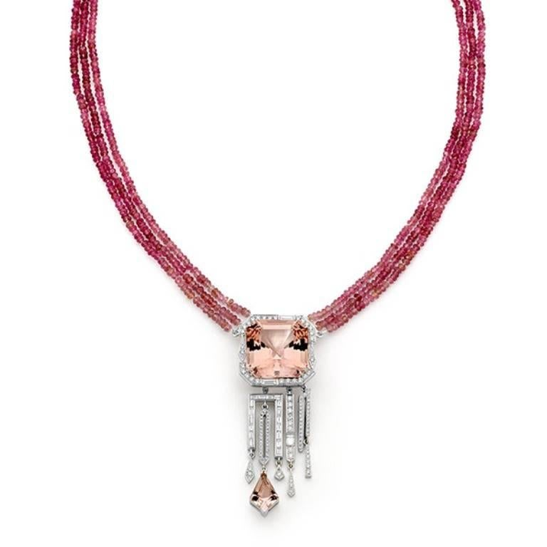 3050 carat morganite diamond and pink tourmaline pendant and featuring a one of a kind 305ct asschet cut morganite the illuvia rossa necklace aloadofball Gallery