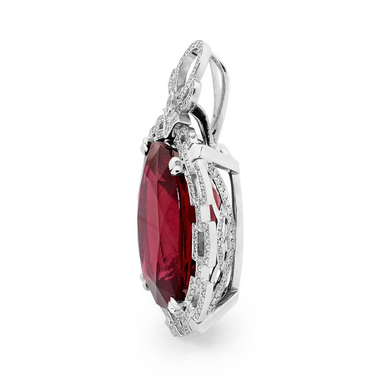 64.53 Carat Rubellite Tourmaline Diamonds Spinel Art Deco Pendant 3